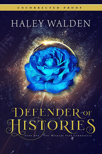 Defender of Histories, book cover featuring a blue flowers against a sparkly, enlighted background