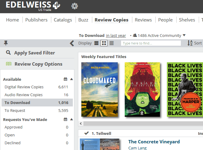 Image: showing the inside of Edelweiss+ and where to find the To Download category