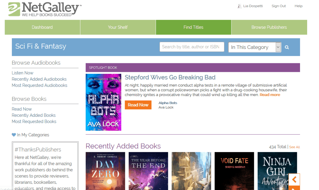 Image: view of NetGalley's Science Fiction & Fantasy category under Find Titles
