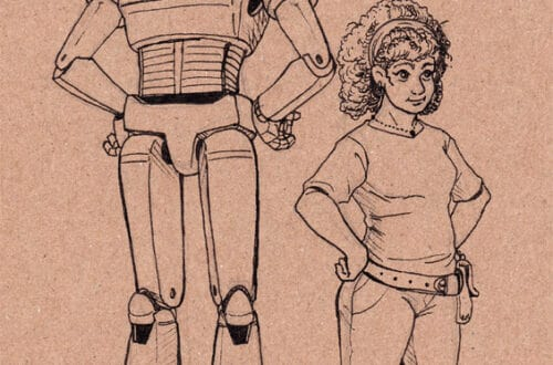 Rebooster (a robot) and Alina B. (a chubby human girl with fair skin and curly hair) standing next to each other